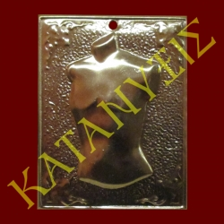 Dedication plaque with engraved male chest